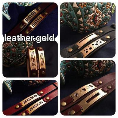 کانال دستبند چرم طلا